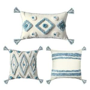 Nordic Throw Pillow Case Stripes Diamond Pattern Tufted Tassels Cushion Cover