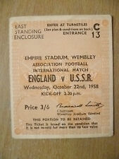 Tickets- 1958 International Match ENGLAND v U.S.S.R., 22 Oct 1958- Wembley (Org)
