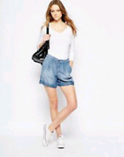 SPLENDID Wilder Tencel Pleated Denim Shorts Med Rope Wash Size 12 MSRP $128 NWT
