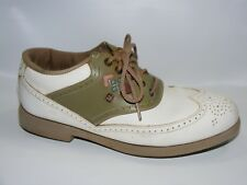 Foot Joy Women's Green White 8 N Narrow Wingtip Leather Golf Shoes Sage Spikes