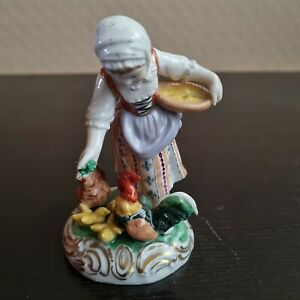 Porzellan Figur Dresden - Bauernmädchen beim Füttern - guter/sehr guter Zustand