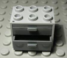 Lego Schrank 2x3x2 new Grau mit new Dunkelgrauen Schubladen               (2477)