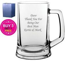 Personalised Engraved Glass Beer Tankard Best Man Groomsman Usher Wedding Gift