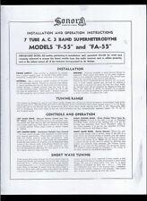 Copy* Sonora Models F-55 & FA-55 7 Tube 3 Band AM SW CS Radio Owner's Manual
