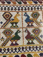Vintage Bead Work Art Peacock Framed