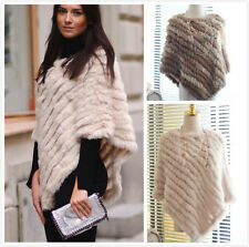 Women Real Farm Rabbit Fur Knitted Shawls Poncho Wrap Pullover Shawl Cape Jacket