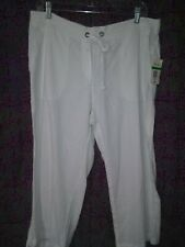 NWT Per Se Linen/Viscose SzL White Capris.($44)   U7