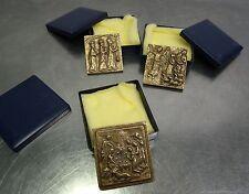 Bronze Plaketten Jesus Geburt Bethlehem 3 ältere kl. sakrale Bronzeguss Platten