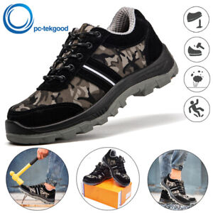 Men's Safety Shoes Steel Toe Steel Sole Work Breathable Hiking Boots Sneaker US