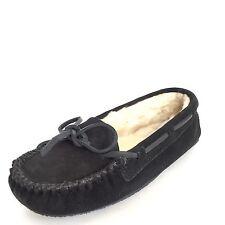 Minnetonka Women's Cally Slipper Black Suede Size 6 M