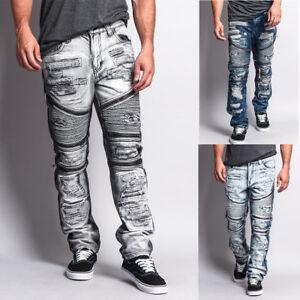 G-Style USA Men's Biker Distressed Washed Zipper Slim Fit Jeans - DL1010-L
