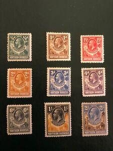 NORTHERN RHODESIA stamps-Scott-1-7, 10-11 MH cv$54 GEORGE V