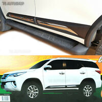 Fitt Chrome Side Doors Cladding Moulding Trim Guards For Toyota Fortuner 2015 17