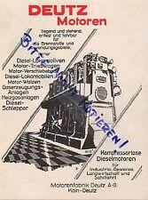 KÖLN-DEUTZ, Werbung 1928 Motoren-Fabrik Deutz AG Diesel-Motoren-Pumpe Kompressor