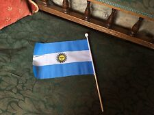 """GIZZY® Argentina 9"""" x 6"""" hand waving stitched on flag wooden stick"""