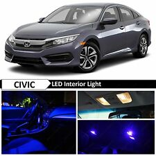 10x Blue Interior LED Lights Package Kit for 2016-2017 Honda Civic