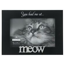 Cat Kitten Picture Frame MEOW 4 x 6 Black Lacquer Gift Box MALDEN Expressions