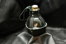 "Glass Potion Bottle w/ Black Leather ""Pouch"" Renaissance Pirate LARP"