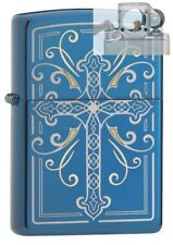 Zippo 29608 Elegant Cross Design Blue Lighter with PIPE INSERT PL