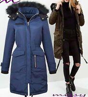 NEW Womens LADIES PARKA JACKET FUR HOOD PADDED WINTER COAT FISHTAIL Size 8-16 RI