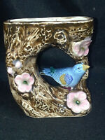 Bird on Branch with Flowers Wall Pocket Japan Majolica