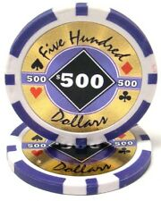 100 Purple $500 Black Diamond 14g Clay Poker Chips New - Buy 2, Get 1 Free