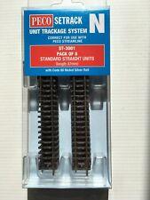 PECO ST-3001 Pk of 8 x 87mm ST-1 N Gauge Standard Straight Setrack Code 80 Rail