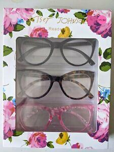 Betsy Johnson Readers Cat Eye +1.50 Set Of 3 black, tortoise, and pink NIB