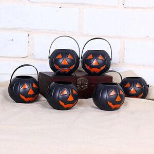 6pcs Mini Pumpkin Candy Holder Pot Witch Cauldron Bucket Sweet Halloween Decor⭐