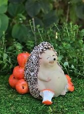 Miniature FAIRY GARDEN Figurine ~ Hedgehog Full From Eating Apples ~ NEW