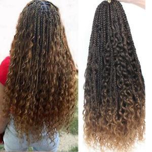 "22"" Messy Bohemian 3X Box Braids Curly End Synthetic Boho Crochet Braiding Hair"