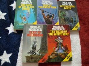 5 x ELRIC FANTASY NOVELS by MICHAEL MOORCOCK (PAPERBACK SET)