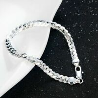 """925 ULTRA sterling Silver Cuban snake Bracelet  CURB 5mm  8"""" chain men women"""