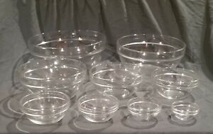 Arcoroc 9-Piece Set Nesting Measuring Mixing Bowls Clear Glass Made In France