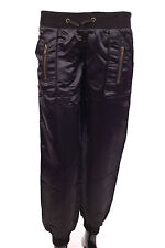 Womens Ladies Satin Silky Low Rise Casual Trousers Stretch Shiny Pants HAREM 14 Black