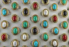 Natural Stone Jewelry Wholesale Mixed Lots 50pcs Women Men's Fashion Rings