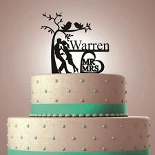 """PERSONALIZED CUSTOM """"Mr&Mrs YOUR LAST NAME"""" WEDDING CAKE TOPPER BLACK SILHOUETTE"""