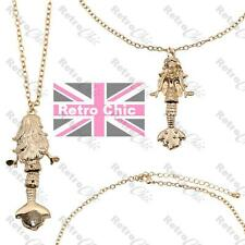 QUIRKY moving tail MERMAID PENDANT&CHAIN wiggle fish GOLD FASHION NECKLACE retro