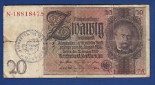 20 Mark 1924-1929 Reichsmark Germany banknotes, Waffen SS division Totenkop !
