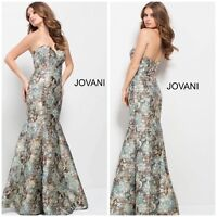 NWT JOVANI 54603 STRAPLESS MARMAID MULTI COLOR DRESS $780 SZ 2,4,6,8,10,12,14