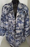 Chico's Womens Silk Blue White Silver Design Lined Shirt Top Blouse Size 3 XL