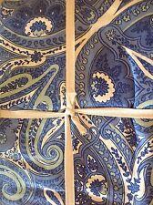 APRIL CORNELL TABLECLOTH 70 inch round BLUE GREEN CREAM PAISLEY  100% COTTON NIP