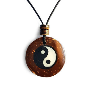 Coconut Wood Yin Yang Charm Pendant Choker Necklace with Black Cord