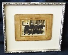 """1900 Chinese Framed B&W Photo """"Four Seated Young Men"""" by marked (Mil) #7800"""