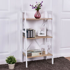 Wall Stand 3 Tier Bookshelf Bookcase Ladder Storage Shelves Book Rack