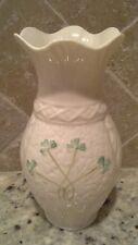"Lovely Belleek Irish Shamrock FORTUNE'S Vase First Edition - 7"""