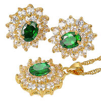 Gift Jewelry Set Created Stone 18K Gold Plated Pendant Earrings For Ladies Dress