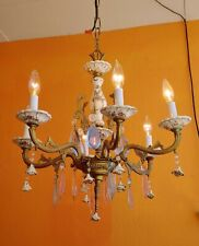 ANTIQUE ITALY CAPODIMONTE 6 ARMS BRASS & PORCELAIN CHANDELIER PINK & BLUE PRISMS