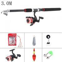 3.0m Fishing Rod Reel Line Combo Full Kits with Float Hooks Beads Bell Lead