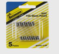Bussmann Buss 15 amps 32 volts AGC Automotive Fuse Glass Tube 5pk BP/AGC-15-RP